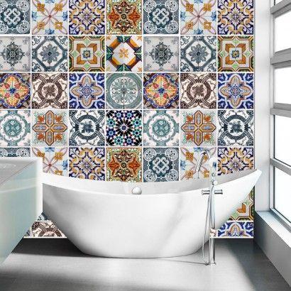 Carrelage adh sif pour salle de bain mod le portugais for Carrelage mural azulejos