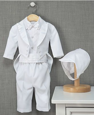 If it is to be an All-White Wedding, this may be appropriate.  (Lose the bonnet.  Too fussy.)  Bonus:  Can add glitter/sequence and re-use later for Baby Liberace Halloween costume.