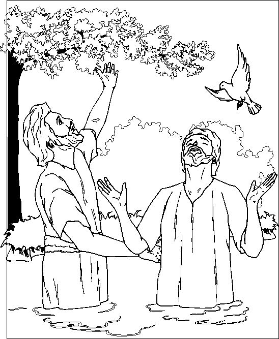 Fancy Baptism Of Jesus Coloring Page 47 After being baptized Jesus