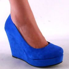 Blue Wedge Heels | Tsaa Heel