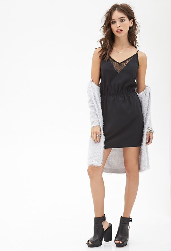Lace Inset Cami Dress - Clothing - Dresses - 2000138199 - Forever 21 EU English
