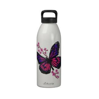 butterfly with blossom reusable water bottles