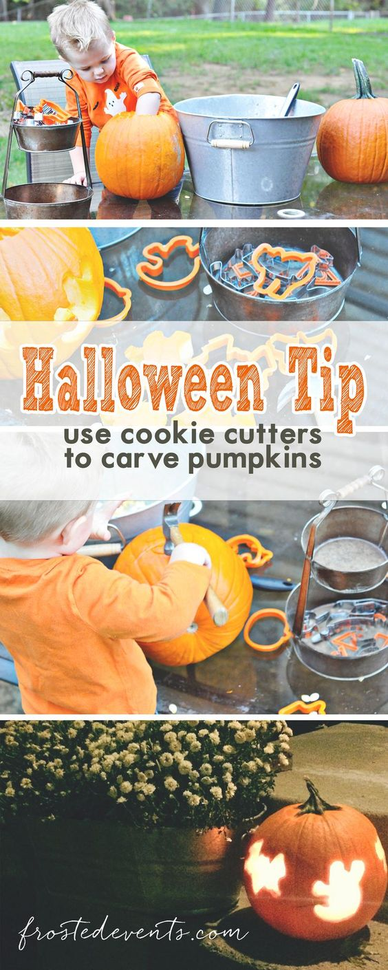 Easy pumpkin carving ideas  -- Halloween tricks - use cookie cutters to punch out shapes   Great Halloween craft for toddlers  halloween inspiration, halloween pumpkins, pumpkin carving, halloween kids ideas: