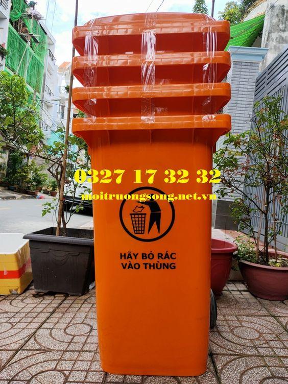 Thùng đựng rác khu đô thị 240l có bánh xe   nắp giá rẻ cực sốc