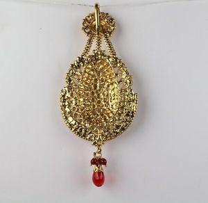 Indian-Hair-Decoration-Maroon-Gold-Plated-Women-Jhoomar-Passa-New