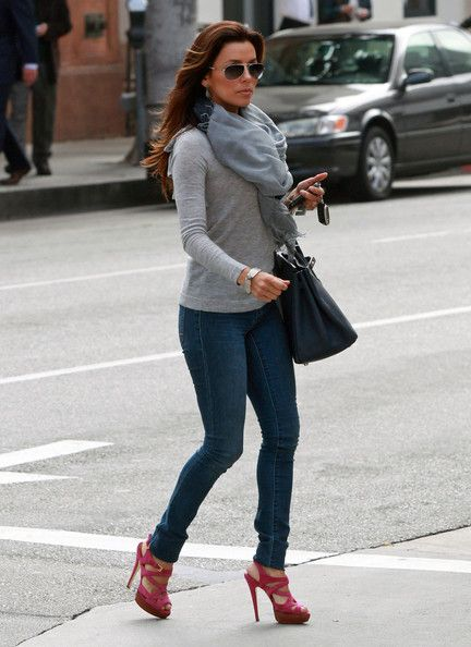 Like this Eva Longoria outfit, especially scarf-knit-jeans combo.