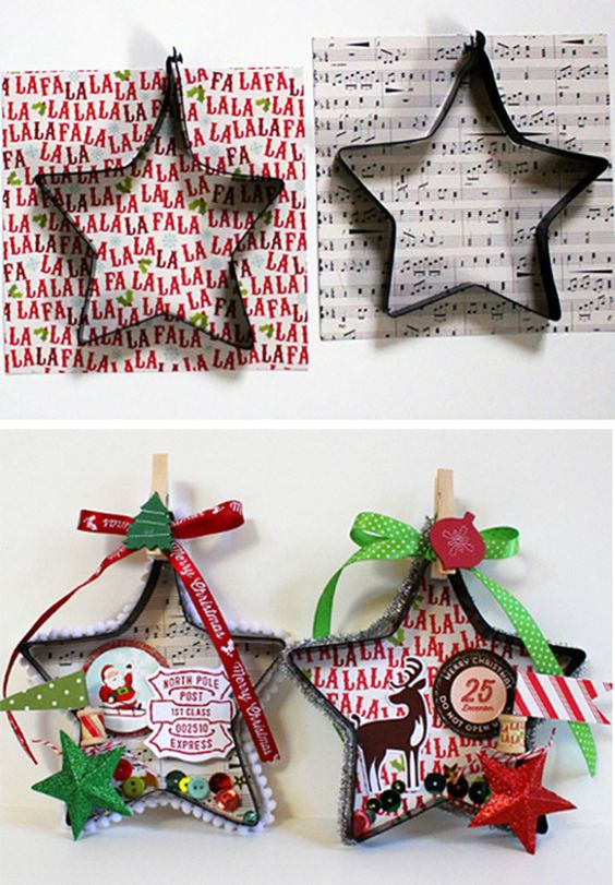 STAR COOKIE CUTTER ORNAMENTS - Make ornaments/decorations using cookie cutters! Ex: star ornaments collage