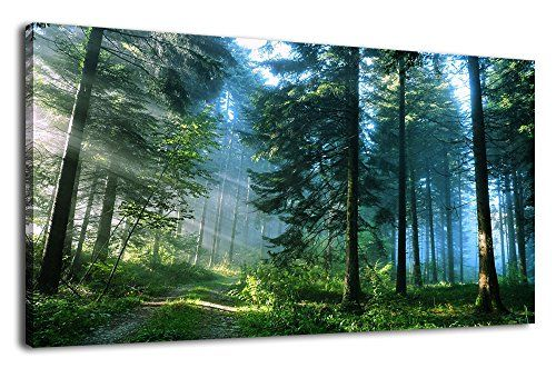 Green Forest Canvas Wall Art Living Room Wall Decor Long Nature Painting Large Canvas Artwork C Canvas Wall Art Living Room Forest Wall Art Nature Canvas Art