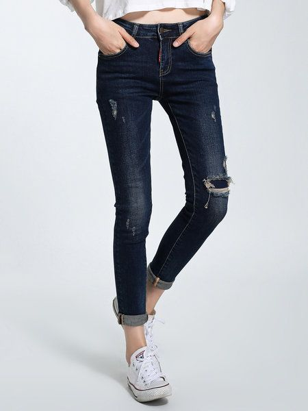 Shop Jeans - Dark Blue Polyester Pockets Plain Casual Skinny Leg Jean online. Discover unique designers fashion at StyleWe.com.: