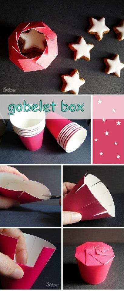 Caixinha de presentes feitas com copinhos plástico ... AMEI
