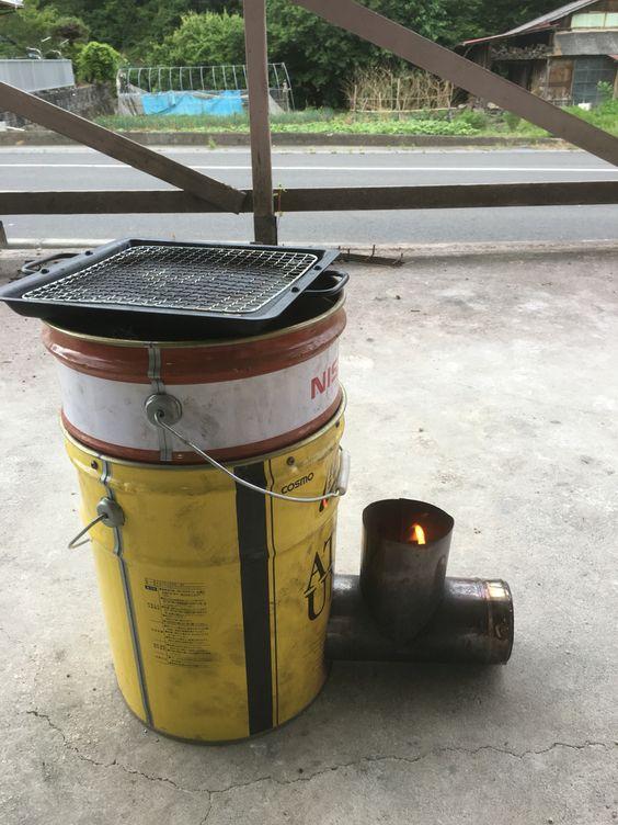 ヒデ爺が作った#ロケットストーブで、お肉を焼こうかな。