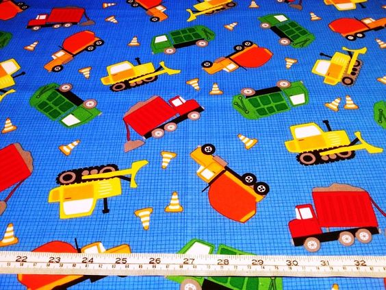 Trucks Bulldozers Construction Vehicles Blue Kaufman Cotton Quilt Fabric | eBay