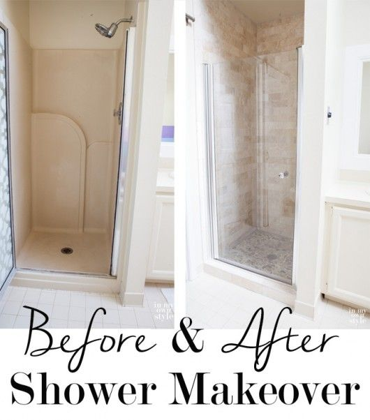 Check out this shower makeover using discounted travertine stone tiles from Floor & Decor.
