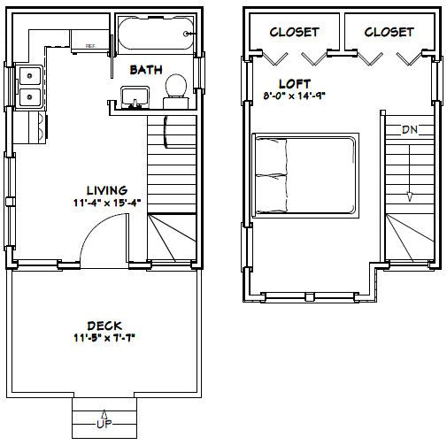 12x16 Tiny House 12X16H6 367 sq ft Excellent Floor Plans