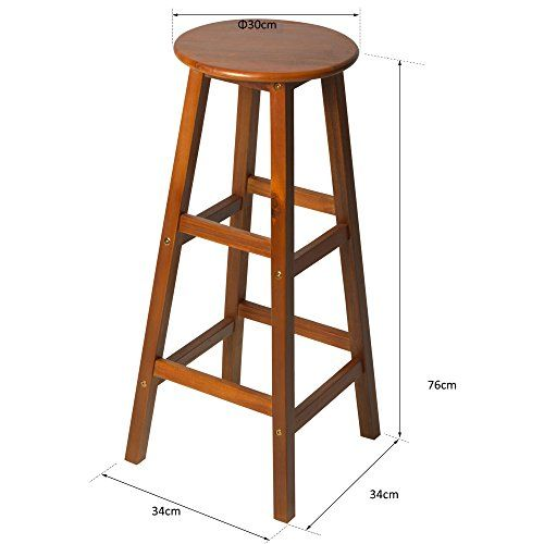 Homcom Set Of 2 Acacia Hardwood Wooden Bar Stools With Footrest Round For Counter Cafe Kitchen Breakfast Pub Conservatory In 2020 Wooden Bar Stools Bar Stools Stool