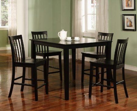 Amazon.com: Coaster 5-Piece Dining Set with 4 Barstools, Black: Furniture & Decor