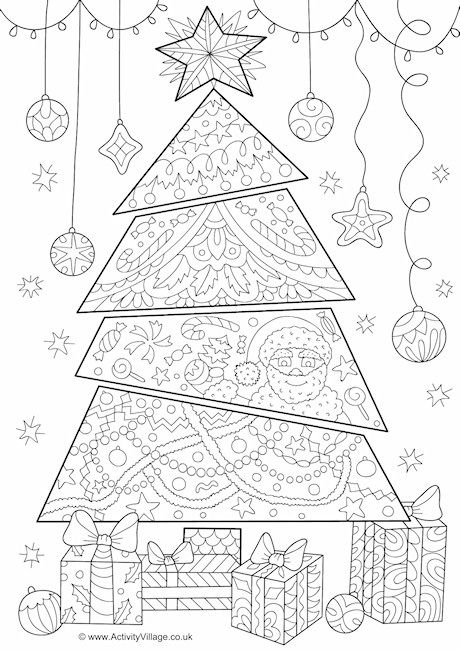 christmas doodle coloring pages for adults | Christmas tree doodle colouring page | Coloring pages for ...