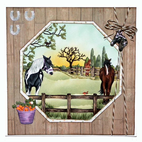 This is the Gorgeous new Horses set designed by Sharon Bennett for Hobby Art. Clear set contains 16 clear stamps as seen on Create & Craft. This Gorgeous Card was made by Sally Dodger: