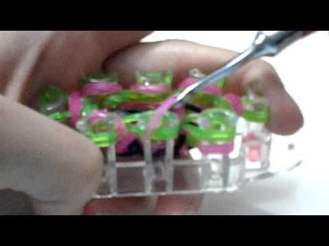 Watermellon bracelet on rainbow loom monster tail loom