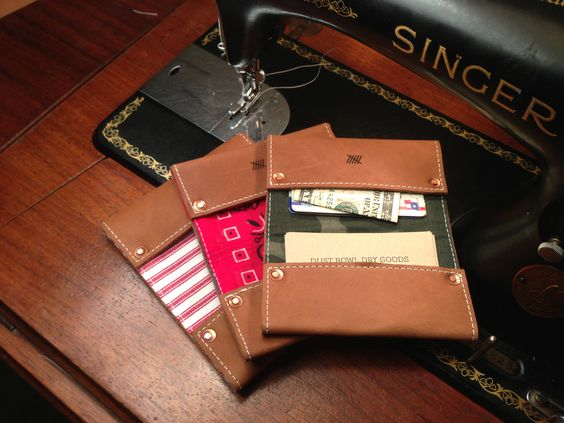 Red Wing Boots leather wallet with camo canvas bandana or