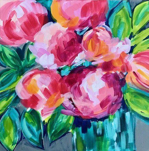Ideen Zum Malen Von Einfachen Abstrakten Blumen Auf Leinwand Mit