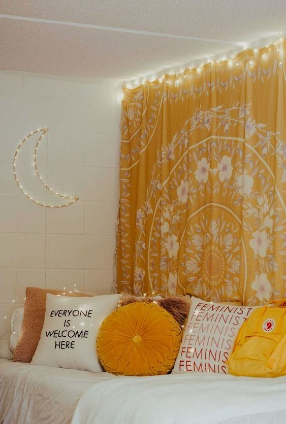 Such A Cute Yellow Aesthetic Room Yellow Bedroom Decor Yellow Room Decor Yellow Room
