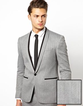 Grey suit with trousers and jacket with black contrast trim