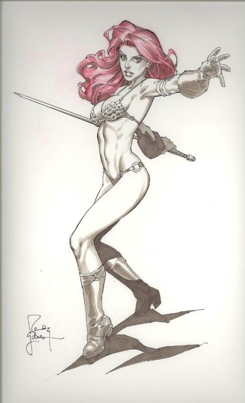 The Red Sonja by Randy Green Comic Art
