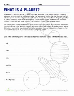 Definition of a Planet | Worksheets, Definitions and Science ...