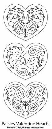 pattern featuring a set of Paisley Heart Valentines to stitch.