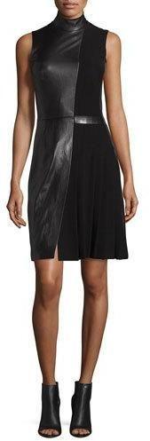 Mugler Sleeveless Mock-Neck Leather Combo Dress, Black, Leather Dress, schwarz, black, Leder Outfits, Ledermode, Leather, Fashion, Dress
