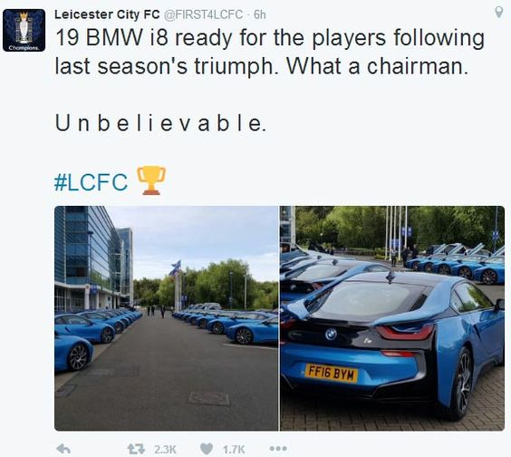 AMAZING STORIES AROUND THE WORLD: Photos: 19 Leicester City Players Get Exotic BMW i...