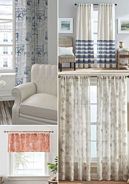 Coastal Nautical Window Treatments Sheers Curtains Living Room