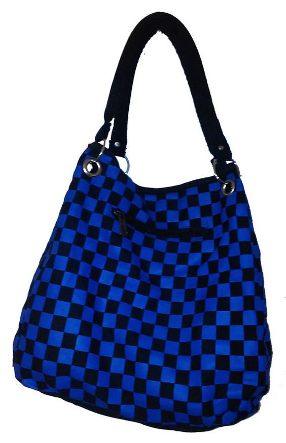 Black and Blue Checkered Tote Handbag, Green and Black Checkered Tote Bag, Red Checkered Tote Bag on Sale with Zipper Compartments by NYCUrbanWear on Etsy