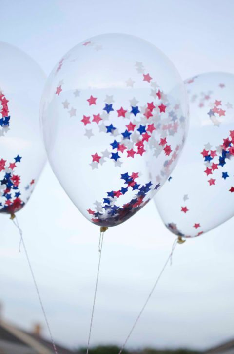 A bouquet of starry balloons is the perfect prop for party photos and an easy take-home favor for kids. Click through for more on this and other decorating ideas for Fourth of July celebrations.