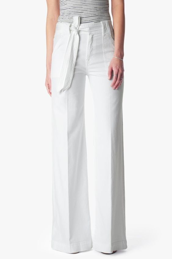 Belted Palazzo Pant in White