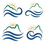 Illustration set icon of mountains,waves and sun.Vector