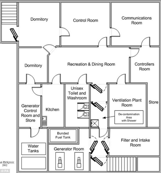 Floor Plan Of The Underground Bunker. (Photo: Daily Mail