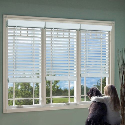 Regal Estate 2 Cordless Faux Wood Blind White Faux Wood Blinds White Window Treatments Wood Blinds