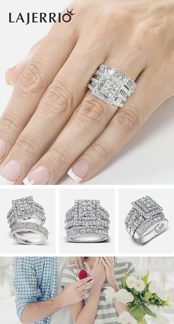 Round /& Square Princess White Sapphire Ring CZ Engagement Set Sterling Silver