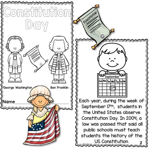 Constitution day printable reader with comprehension for Constitution day coloring pages kindergarten