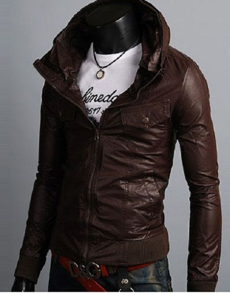 Men's biker leather jacket, men hooded leather jacket, dark brown ...