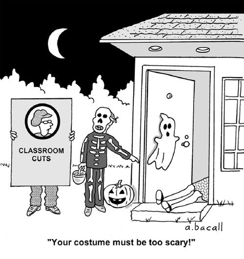Teacher Evaluation Cartoons | Your Costume Must Be Too Scary