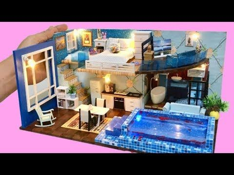 Diy 2 Storey Cinderella Dollhouse With A Real Swimming Pool Youtube Doll House Doll House Crafts Swimming Pools