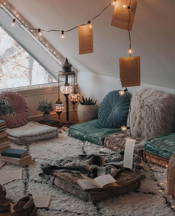 I kind of like this idea of having a cozy room just full of pillows.