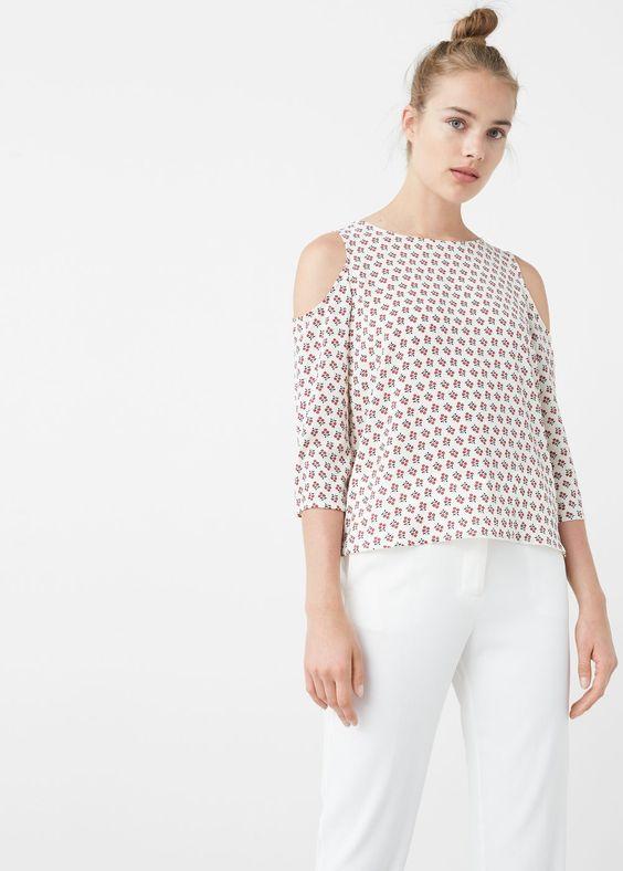 Schulterfreie bluse - Blusen für Damen | MANGO Deutschland