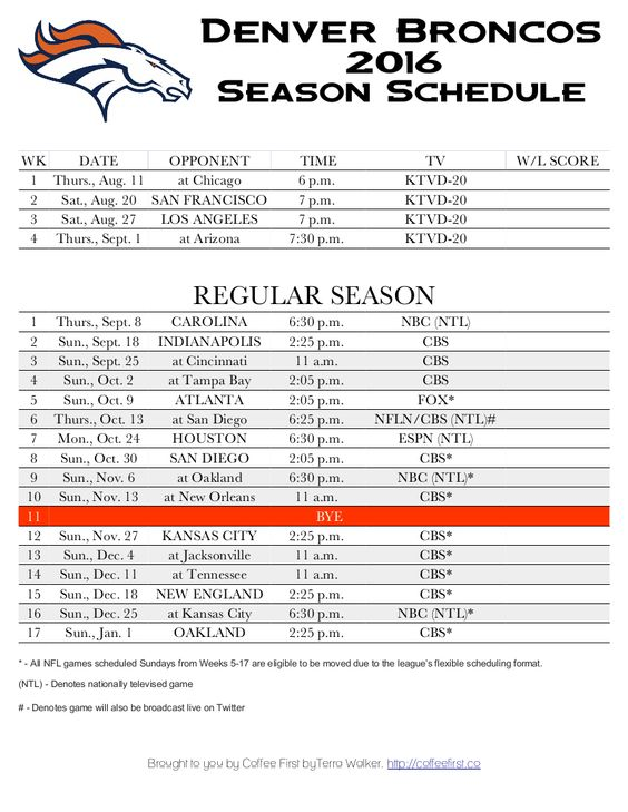 Denver Broncos 2016 Season Schedule Free Printable