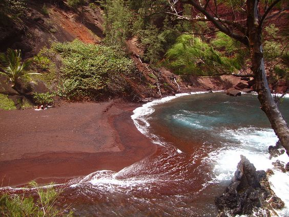 Red sand beaches in Hana, Hawaii