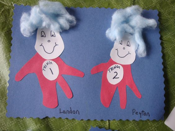 Thing 1 & Thing 2 handprints with blue cotton hair.