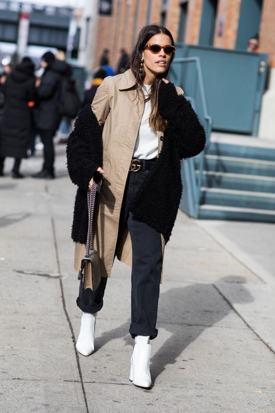 Street style à la Fashion Week automne-hiver 2017-2018 de New York boots blanches